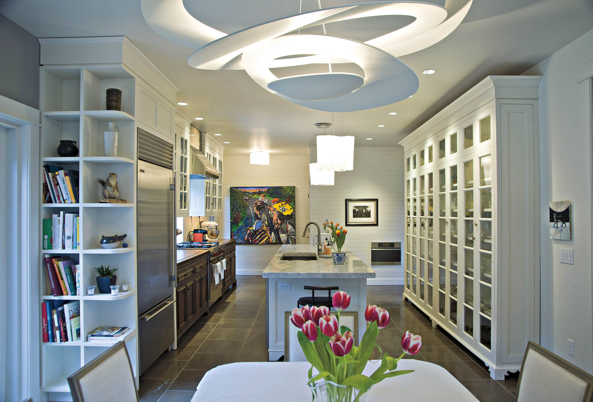 Foley Road white kitchen with Artimede lighting