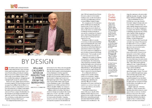 Berkshire Magazine Profile of Caligari Interior Design